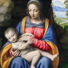 Mary and the Infant Jesus: images of the Nativity of Jesus Christ, by artist Bernardino Luini 1480-1532, Italy