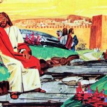 Artist is John William Walter, 20th Century, American illustrator. Images of the life of Jesus Christ. Bible story pictures.